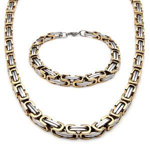 Collar de estilo de moda de acero inoxidable para hombre y pulsera Link Byzantine Box Chain Set Two-tone Color NB660
