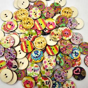 Botones de madera pintura vintage 15/20 / 25mm 2 agujeros para caja de regalo hecho a mano Scrapbooking artesanía decoración del partido DIY costura del drenaje