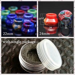 Resina epoxi 22 mm 24 mm Puntas de goteo Derlin universales Puntas de goteo de gran diámetro para RDA RBA Atomizador Vapor colorido Boquilla con paquete al por menor