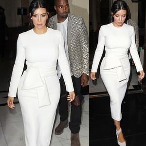 Primavera Otoño Vestido elegante de las mujeres Kim Kardashian Sólido O-cuello blanco Trabajo de oficina Negocio Sexy Carrera Estiramiento Bodycon Vestido de talla grande XZ-14