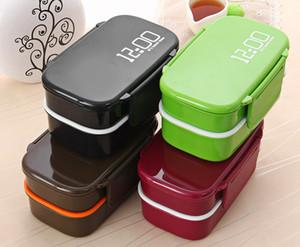 Fun Life 12:00 Es hora de comer Japón estilo Double Tier Bento Lunch Box 4 Color Large Meal Box Vajilla de microondas Juego de vajilla