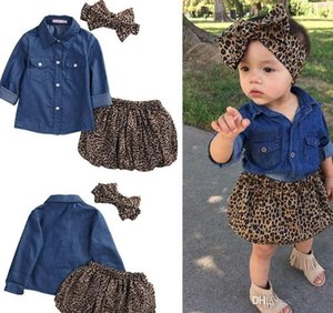 Conjuntos de Roupas de verão Menina Criança Denim Azul Tops + Saia de Leopardo Outfits leopardo grande arco headband 3 pcs set
