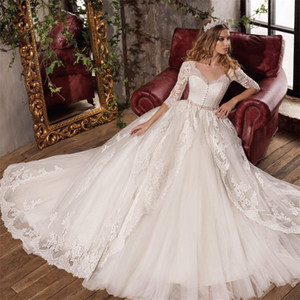 Кружева 3/4 рукава с длинными рукавами кнопки передние свадебные платья с бисером Sash Ball Admage Длина пола аппликации кружева свадебные платья