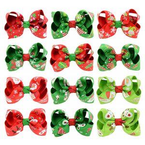 24 unids 3,15 pulgadas Navidad Nuevo estilo Grosgrain Cinta Arcos con Clip Papá Noel Reno Reno Caballo de Pelo Helada Hermosa Huilin C137