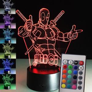 Nova Atualização 7 Cores Mudando Herói Deadpool 3D luz LED Controle Remoto Night Light USB toque LED Decorativo LED Iluminação de Mesa