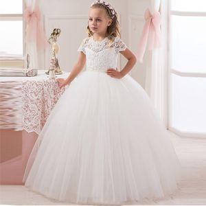 2020 dentelle blanche robe de bal robe fille fleur pour mariage princesse filles Pageant robe à manches courtes pour enfants Robes De Comunion