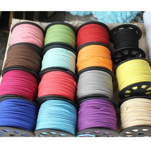 Großhandel Verschiedene Farben 2,6 MM Breite 100 Yard Halskette Armband Sicke Faux Wildleder Lederband für DIY Schmuck Handwerk