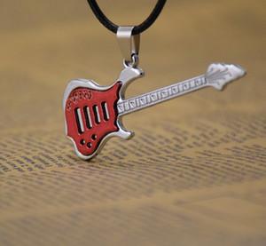 Поставка мода 5 цветов музыка гитара ожерелье кулон ожерелья мужские ювелирные изделия мужчины ожерелья черный воск веревка цепи смешать классический стиль