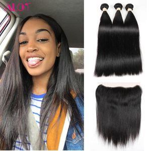 ALOT Cheveux Frontal avec Faisceaux Cheveux Raides Brésilien Indien Péruvienne Malaisienne Vierge Cheveux 3 Bundles Avec 13x4 Dentelle Frontale