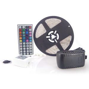 Tira de LED RGB 3528 SMD 150 metros 30 rollos 300leds Flexible a prueba de agua + 44 teclas IR conector remoto + 12V 2A Alimentación con enchufe