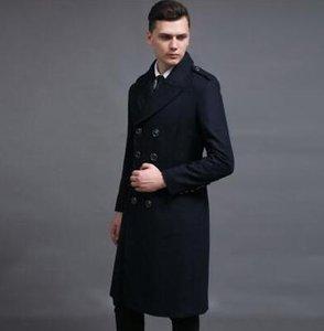 Casual longo casaco de lã double breasted casaco casaco de caxemira dos homens casaco masculino inverno erkek mont sobretudo grande tamanho S-6XL