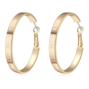 Lusso grande rotonda orecchini Pulsante per monili delle donne oro zircone ORECCHINI Miglior regalo di Natale per le donne