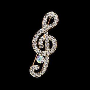 New Designer Musical Nota cachecol broche Pinos Brilhante de cristal Rhinestone broche por Mulheres noiva do casamento Broches Jóias presente