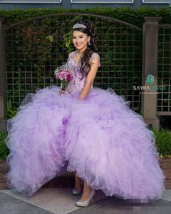 플러스 사이즈 Lilac Quinceanera Dresses Sweetheart Capped Zipper 구슬 장식 구슬 장식 조각 2019 싸구려 Sweet 15-16 Promat의 Dressut Dress 가운