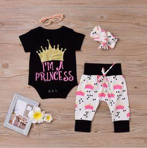 Baby 3pcs Kleidung Sets Infant Onesies Strampler + Hose + Stirnband Set Ich bin eine Prinzessin Infant Crown Princess Kleidung Anzug