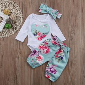 새 도착 아기 소녀 의류 큰 심장 패턴 Romper + 꽃 바지 + 머리 띠 3PCS 아기 소녀 의상 아기가 태어난 유아 의류 세트