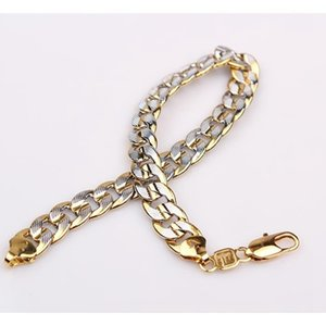 2-Tone 18K Yellow White Gold Filled Hammered Chain Curb Bracelet
