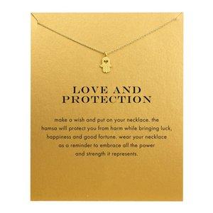 Collana di fascino Hamsa Dogeared (Amore e protezione) Cuore Cut Off Collane con ciondolo a mano Catenelle Catenina collana Moda Gioielli donna