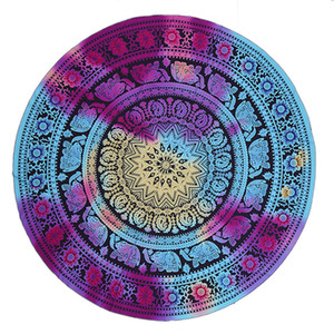 Pretty Tapestry Lightweight Chiffon Beach Towel Round Bohemian Style Mandala Round Window Curtain Bed Sheet Tablecloth Couch Cover 150cm