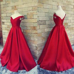 Vestidos de noche largos 2019 Vestido Mae Da Noiva fuera del hombro satén rojo barato vestidos de baile para las mujeres vestidos formales
