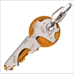 Toptan Çok fonksiyonlu Ferramenta Gerçek Programı 8-in-1 Çok EDC Aracı Paslanmaz Çelik Anahtarlık Şişe Açacağı Tırnak Dosya Konu Kesici