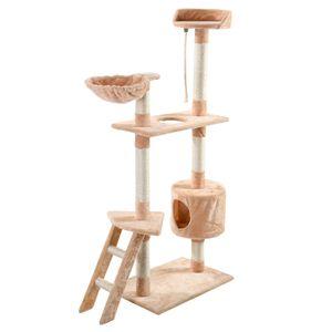 "Nuovo 60 ""Cat Tree Tower Condo Scratcher Furniture Kitten Pet House Hammock Beige"