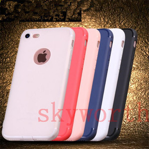Schlankes Silikongehäuse für iPhone 7 plus 6 6s 5 5S Abdeckung Candy Colors Weiche 065mm TPU Matte Telefon Fall mit Staubkappe