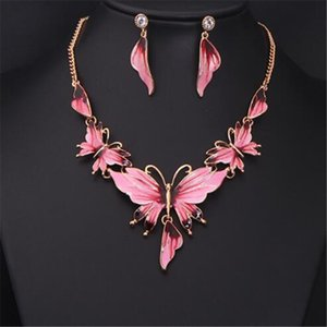 DHL Statement Necklace Earring Silver Jewelry Set Fashion Elegant Buterfly Necklace Party Collar Jewelry for Wedding Women Mood Epoxy Style