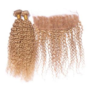 El pelo rizado profundo de Strawberry Blonde teje y el cierre frontal del cordón Paquetes rizados rizados del pelo 3pcs con los frontales del cordón 27 # Blonde