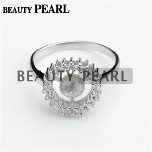Bulk of 3 Pieces Ring Findings 925 Sterling Silver Round Face Shiny Cubic Zirconia Ring for DIY Jewelry Making
