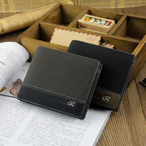 새로운 도착 가죽 PU 남성 삼중 지갑 지갑 블루 그레이 블랙 대비 컬러 선물 가죽 지갑 소 가죽 지갑 신용 카드 ID 포켓