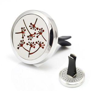 Самый новый дизайн Dandelion Car Perfume Locket 30 мм Магнитная 316L нержавеющая сталь Aroma Essential Oil Diffuser Locket для автомобилей