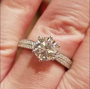 Потерять Деньги Продвижение! Изысканные ювелирные изделия 100% твердых стерлингового серебра кольцо инкрустация 2 карат Сона CZ Алмаз обручальные кольца для женщин