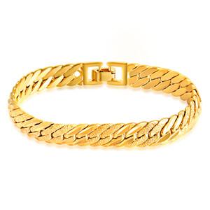 Clásica 11 mm de ancho chapado en oro pulsera de cadena de espina de pescado brazalete de la pulsera brazalete para hombres regalo de boda