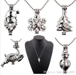albero pupazzo di New Pearl gabbia pendente con Silver Pearl cervi di Natale Babbo Hollow Locket catena della clavicola gioielli di perle Collane