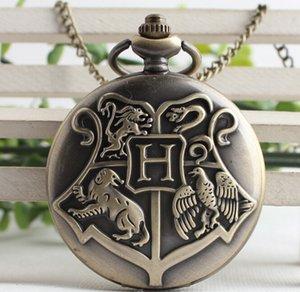 All'ingrosso-Steampunk Harry Hogwarts Scuola di Magia e Stregoneria di catena Boccino d'Oro al quarzo Fob Orologio da tasca Collana Maglione