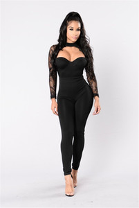 Wholesale- Sexy Woman Jumpsuit Romper Splicing Women Leotard Rompers Womens Jumpsuit Halter Long Sleeve Lace Sexy Femininos