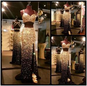 Wunderschöne prickelnde Goldkristalle Strass Zwei Stücke Prom Kleider Sexy Träger Backless High Split Abendkleider Party Promi Kleider