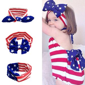 Hot Baby Bow Headbands Red White Striped Stars Arcos Accesorios para el cabello Niñas Elástico Diadema Twist Knot Head Wrap Toddler Hairband suave