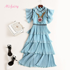 Runway Dress 2017 Light Blue Rüschenkragen mit kurzen Ärmeln Damen Kleid Falten Pailletten Cascading Rüschen Celebrity Style Dress M061751