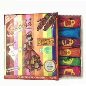 Golecha Henna 임시 문신 바디 아트 Natural Indian Tattoos 페이스트 바디 드로잉 바디 페이스 핸드 페인트 헤너 문신 25g Mixed 6 Colors