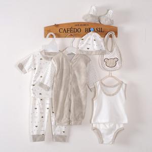 Atacado-8PCS / 0-3M / alta qualidade Band 2016 nova primavera verão outono roupa recém-nascido set 100% algodão recém-nascido menino roupas de menina