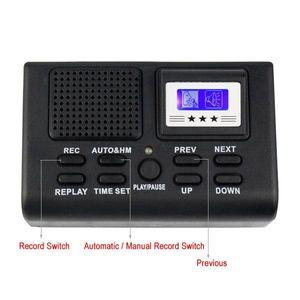 مصغرة الهاتف الرقمي تسجيل صوتي مراقبة مكالمة هاتفية مع شاشة LCD مسجل الهاتف دعم بطاقة SD الأسود في صندوق البيع بالتجزئة