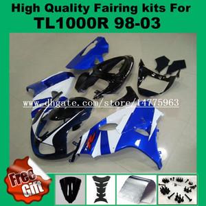 9Gifts + Kits de carenagem para SUZUKI TL1000R 1998 1999 2000 2001 2002 TL1000 R 98 99 00 01 02 Kit de carenagens azul branco preto # CJ-552N