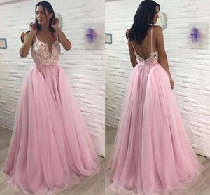 Blus Pink Fashion Prom Dresses Una linea scollo a V senza maniche Pizzo gallo Tulle Rosa robe de soiree Lunghe vestidos de noche