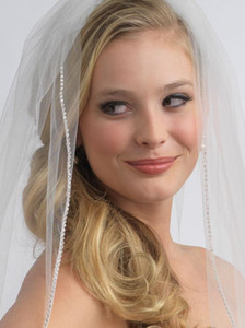 Free Shipping One Layer Wedding Bridal Veil White Ivory Fingertip Length Crystal Beaded With Comb Factory Real Picture Drop Ship