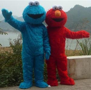 DOIS PCS !! Rua Sésamo Red Elmo Azul Cookie Monster Traje Da Mascote, carnaval Animal + Frete grátis