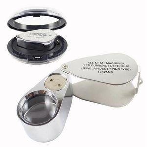 Venda quente ferramenta de reparo do relógio de metal joalheiro led microscópio lupa lupa lupa luz UV com caixa de plástico 40x25mm