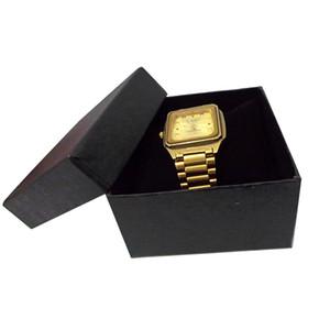 Livraison gratuite 30 pcs Bijoux emballage Cas papier noir avec coussin en velours noir Oreiller Montre de stockage Bracelet Organisateur boîte-cadeau