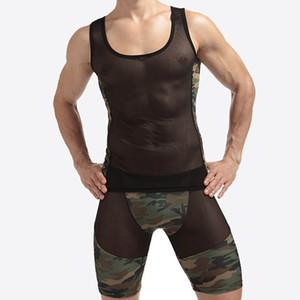 1 ensembles Mesh Sexy Hommes Débardeurs gilet transparent Singlet Sous-Chemises Gay Exotique pure Nylon Camouflage Sous-Vêtements Lingerie Ensemble
